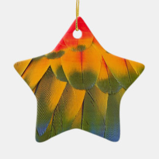 Macaw feathers christmas ornament