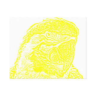 macaw head view graphic yellow outline parrot gallery wrap canvas