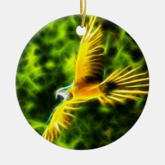 Macaw In Flight Round Ceramic Decoration