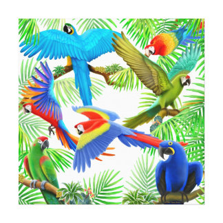 Macaw Jungle Wrapped Canvas Canvas Print