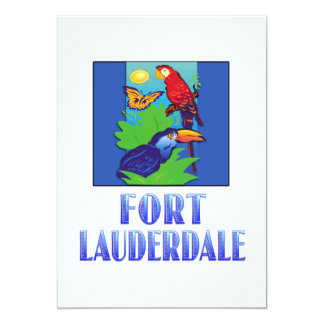 Macaw, Parrot, Butterfly & Jungle FORT LAUDERDALE 13 Cm X 18 Cm Invitation Card