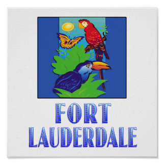 Macaw, Parrot, Butterfly & Jungle FORT LAUDERDALE Poster