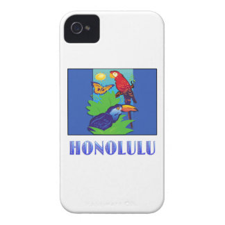 Macaw, Parrot, Butterfly & Jungle HONOLULU iPhone 4 Case-Mate Cases