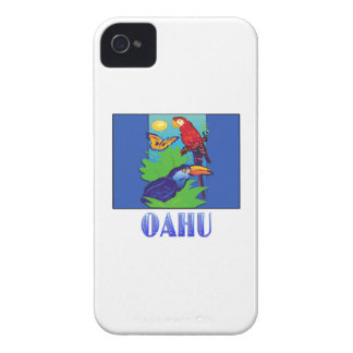 Macaw, Parrot, Butterfly & Jungle OAHU iPhone 4 Case-Mate Cases
