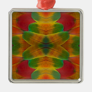 Macaw parrot feather kaleidoscope christmas ornament