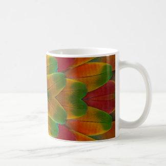 Macaw parrot feather kaleidoscope coffee mug