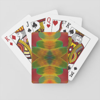 Macaw parrot feather kaleidoscope playing cards