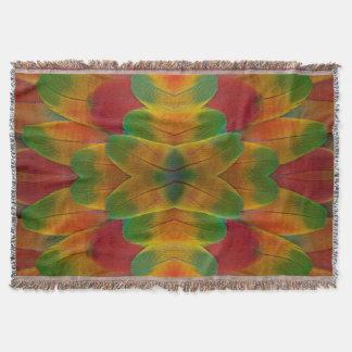 Macaw parrot feather kaleidoscope throw blanket