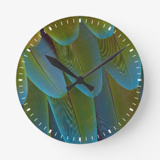 Macaw parrot feather pattern detail round clock