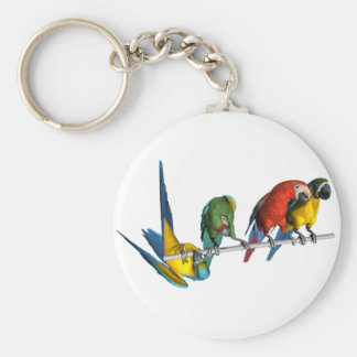 Macaw Parrot Basic Round Button Key Ring