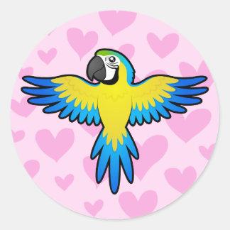 Macaw / Parrot Love Round Sticker