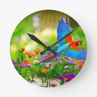 Macaw Parrot Round Clock