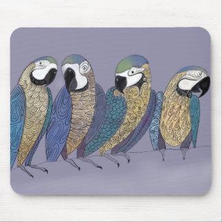 Macaw parrots having a party mouse mat