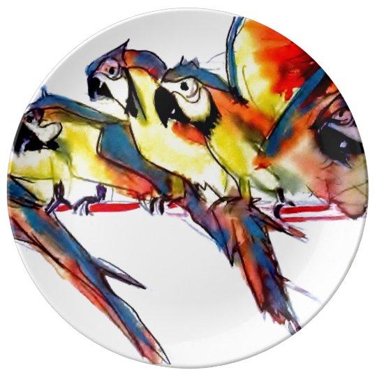 Macaw parrots illustration plate