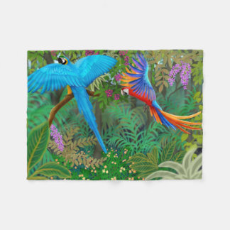 Macaw Parrots in Jungle Fleece Blanket