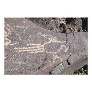 Macaw Petroglyph of an Exotic Bird Art Photo
