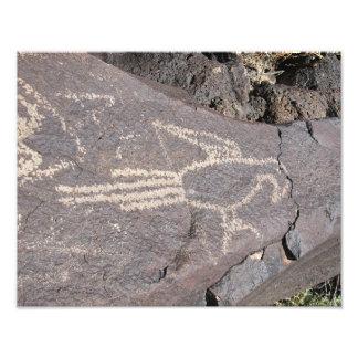 Macaw Petroglyph of an Exotic Bird Photo Print