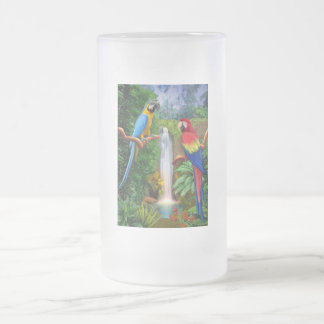 Macaw Tropical Parrots Frosted Glass Beer Mug