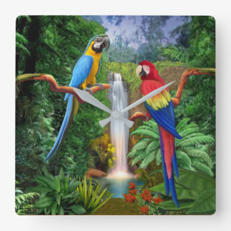 Macaw Tropical Parrots Square Wall Clock