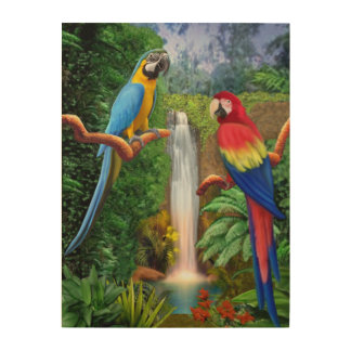 Macaw Tropical Parrots Wood Wall Decor