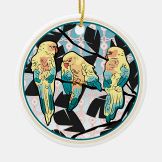 Macaws in front of a pink moucharabieh and blue christmas ornament
