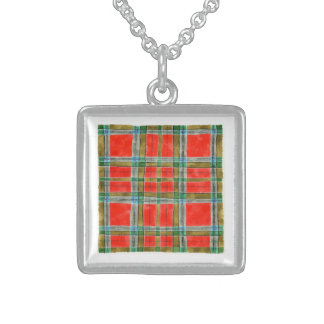 MacBain Tartan Square Sterling Silver Necklace
