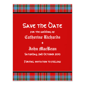 MacBean Ancient Tartan Wedding Save the Date Card
