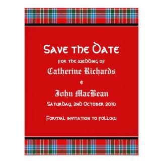 MacBean Ancient Tartan Wedding Save the Date Card 11 Cm X 14 Cm Invitation Card