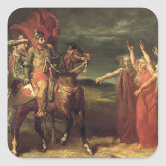 Macbeth and the Three Witches, 1855 Square Sticker
