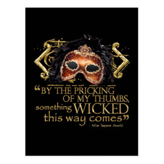 "Macbeth ""Something Wicked"" Quote (Gold Version) Postcard"