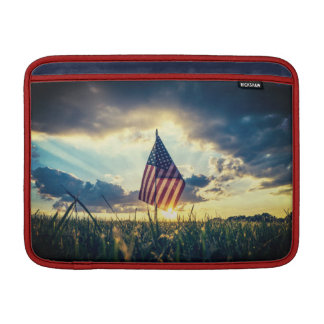 MacBook Air Case Sunset behind the American Flag