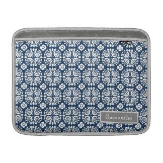 Macbook Aqua Damask Custom Name MacBook Sleeve