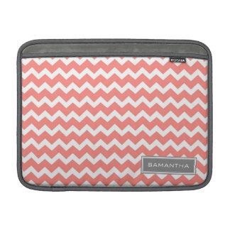 Macbook Coral Chevron Custom Name MacBook Sleeve