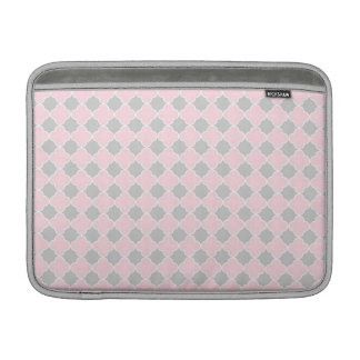 Macbook Pink Grey Quatrefoil Pattern MacBook Sleeve