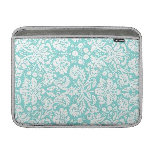 Macbook Teal Damask Pattern MacBook Sleeve
