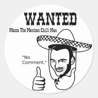 Macca Mexican Chilli Man Classic Round Sticker