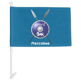 Maccabee Shield And Spears Car Flag