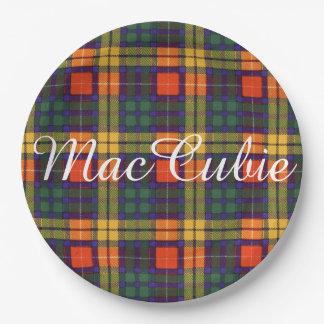 MacCubie clan Plaid Scottish kilt tartan Paper Plate