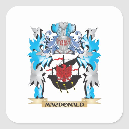 Macdonald Coat of Arms - Family Crest Square Stickers