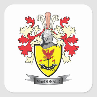 MacDonald Family Crest Coat of Arms Square Sticker