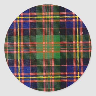 MACDONALD FAMILY TARTAN ROUND STICKER