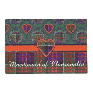 Macdonald of Clanranalld Plaid Scottish tartan Laminated Placemat