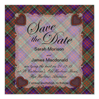 Macdonald of Clanranalld Scottish tartan - Plaid 13 Cm X 13 Cm Square Invitation Card