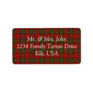 MacDonald Of Glencoe Tartan Label Address Label