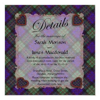"Macdonald of Glengarry Scottish clan tartan  Plaid 5.25"" Square Invitation Card"