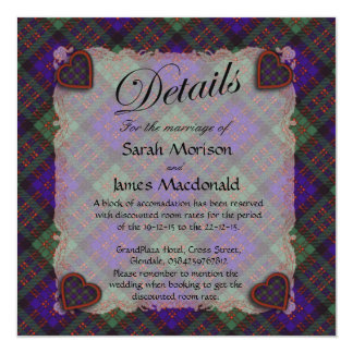 Macdonald Scottish clan tartan - Plaid 13 Cm X 13 Cm Square Invitation Card