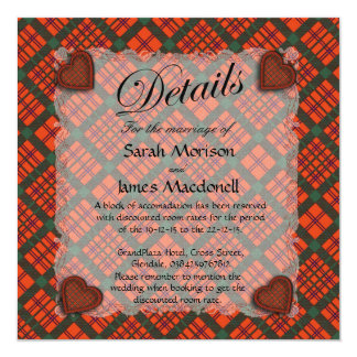 Macdonell of Keppoch Scottish clan tartan - Plaid 13 Cm X 13 Cm Square Invitation Card