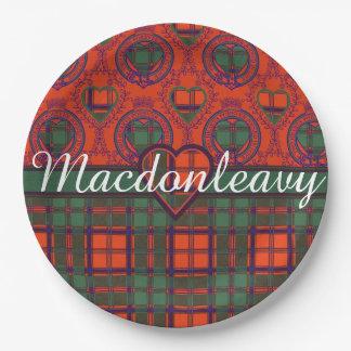 Macdonleavy clan Plaid Scottish kilt tartan Paper Plate
