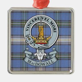 MacDowall Crest + Tartan Premium Ornament