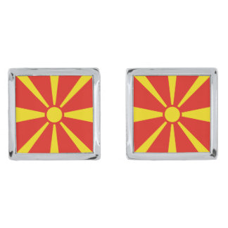 Macedonia Flag Cufflinks Silver Finish Cufflinks